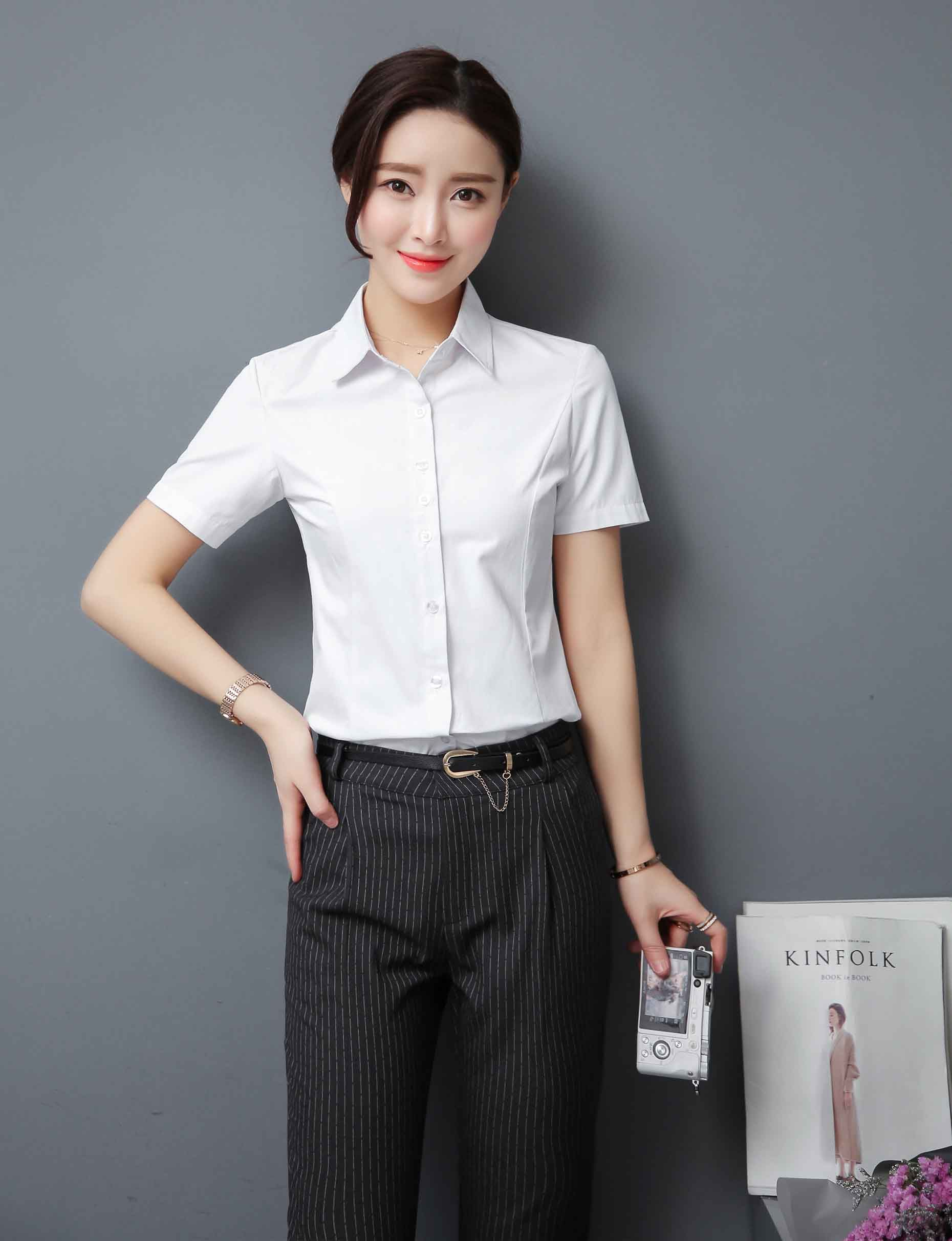 Women s  white short sleeve button  shirts with plain color design 6a375efb1
