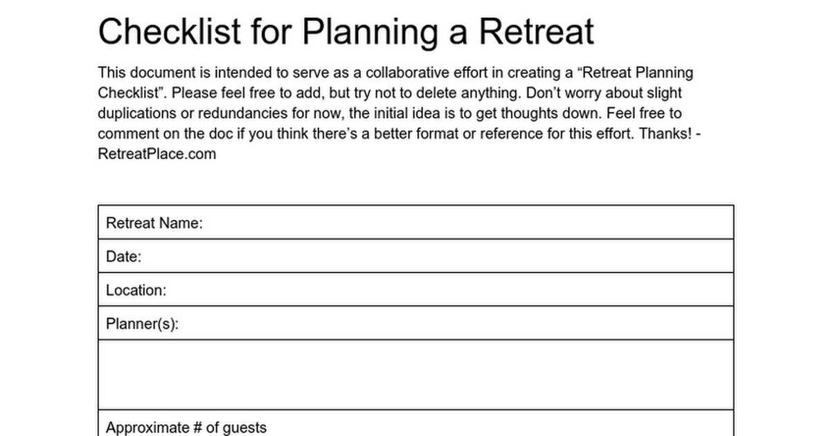 Checklist For Planning A Retreat This Document Is Intended To
