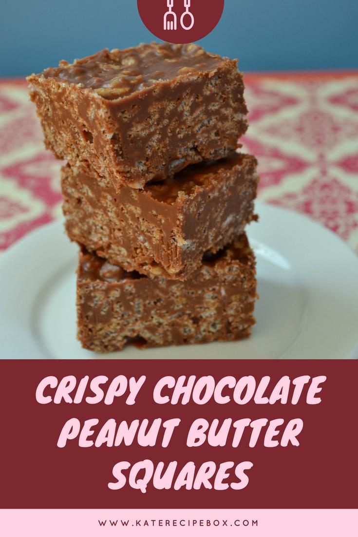 Crispy Chocolate Peanut Butter Squares #FoodBloggerLove #peanutbuttersquares