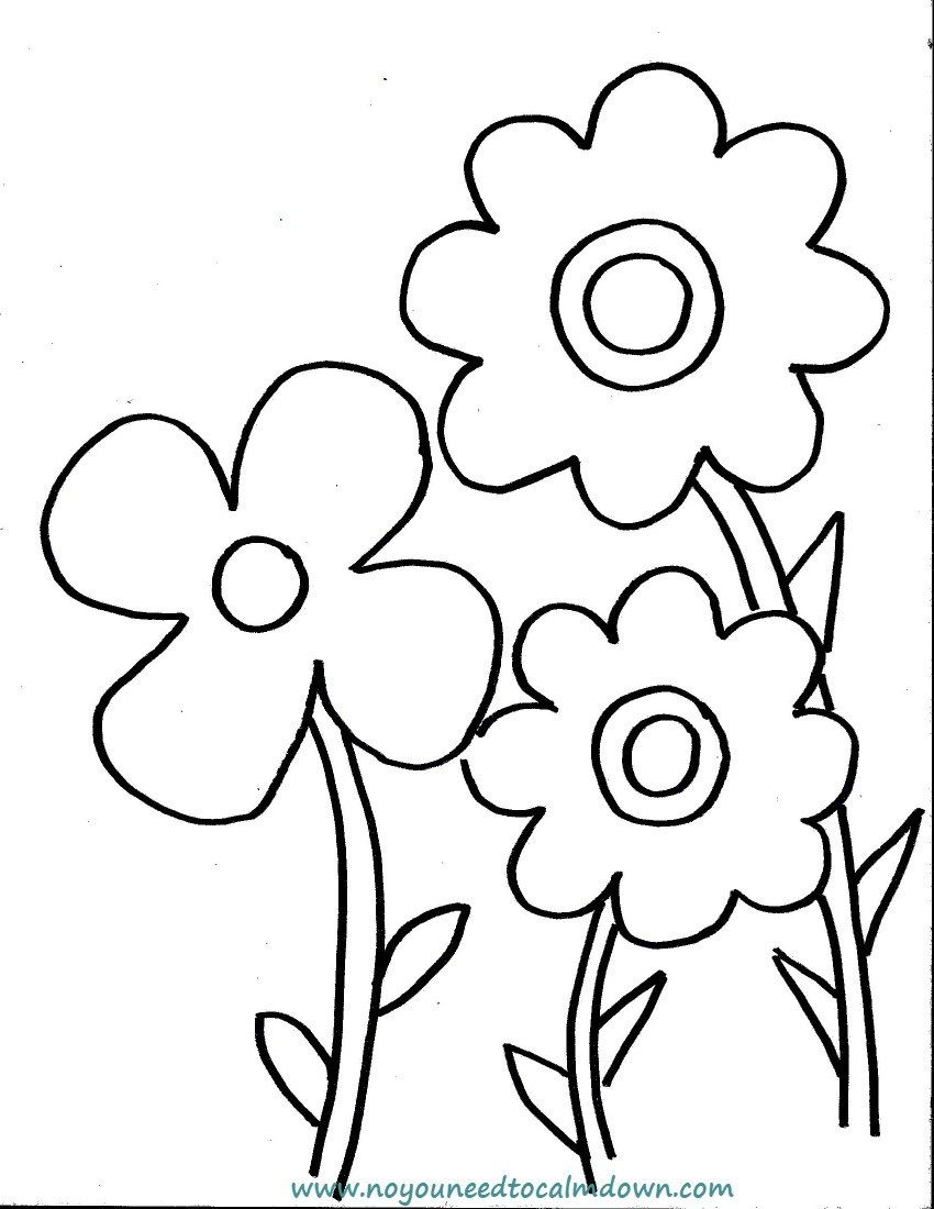Spring Flowers Coloring Page for Kids Free Printable