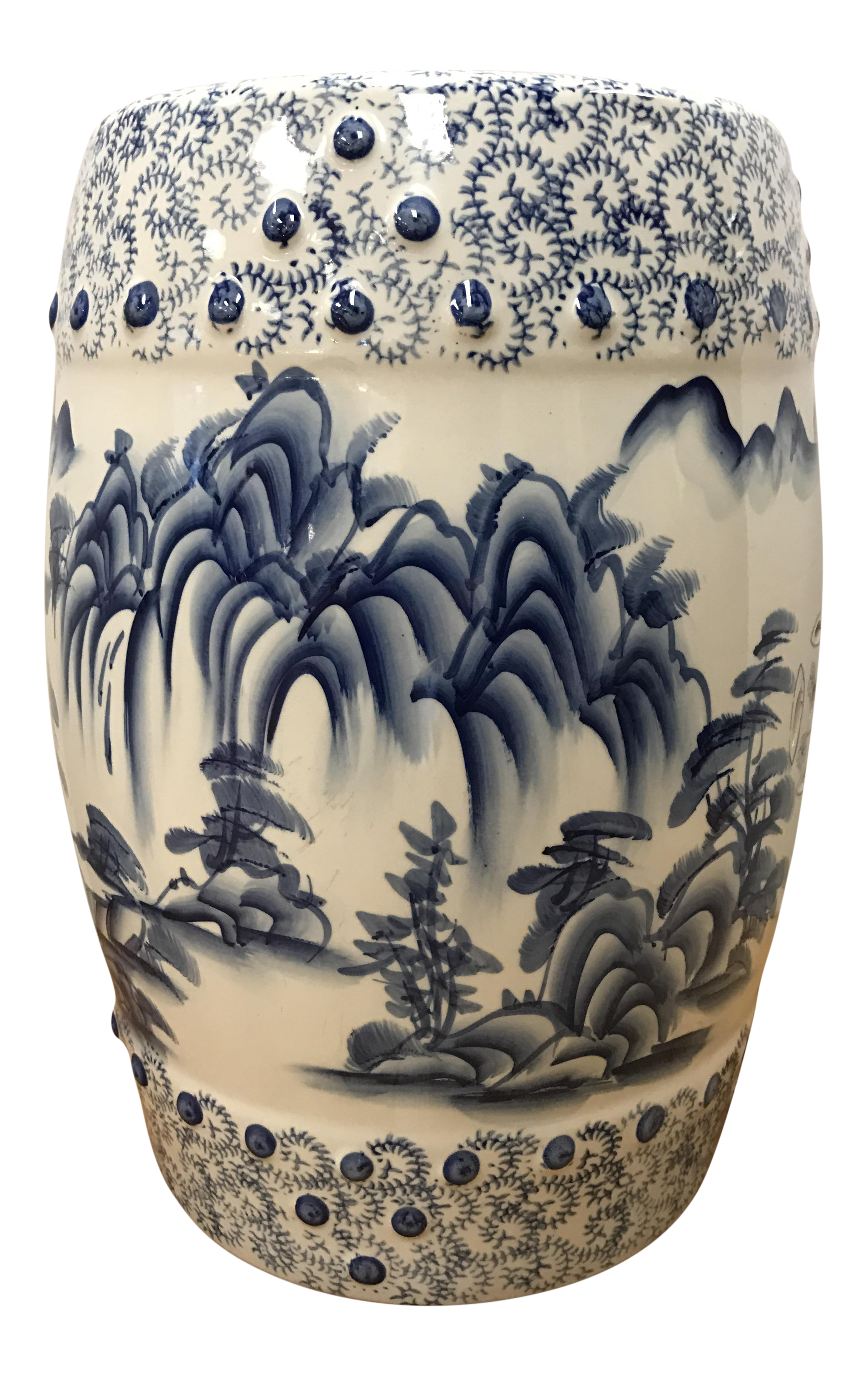 Chinese Blue & White Porcelain Garden Stool is part of Chinese garden Seating - A vintage Chinese blue and white hand painted porcelain garden stool