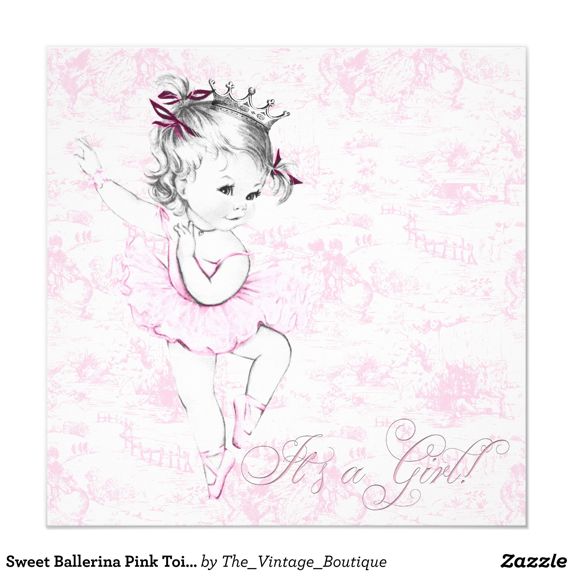 Sweet Ballerina Pink Toile Baby Shower Card