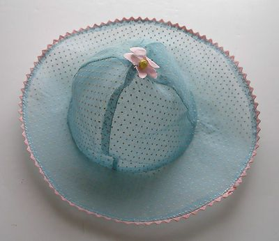 Vintage 1930s Swiss Dot Blue Organdy Doll Hat Patsy Doll, Shirley Temple Doll