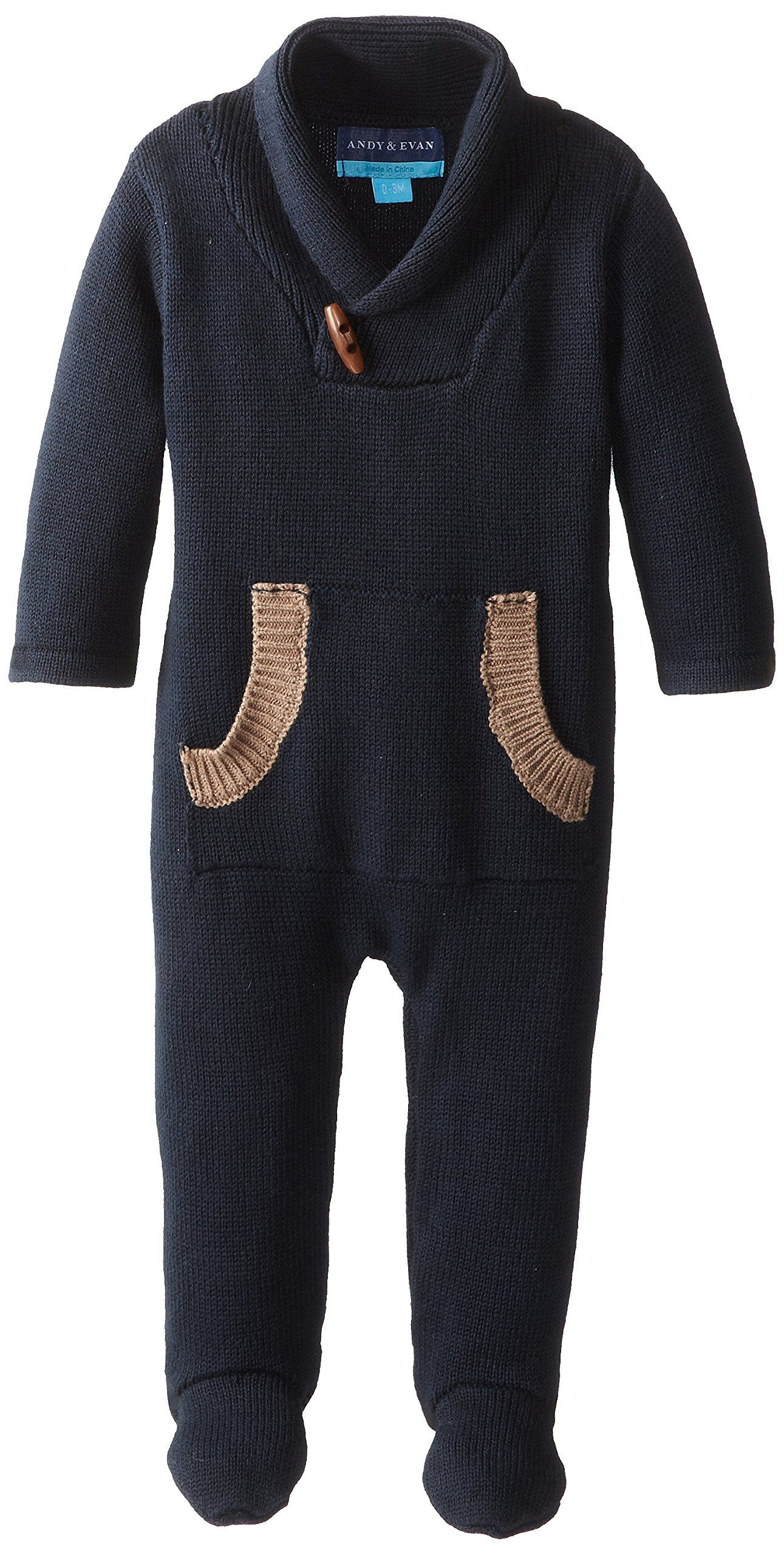 02b3a3f3cfcc Amazon.com  Andy   Evan Baby-Boys Newborn Navy Sweater Romper
