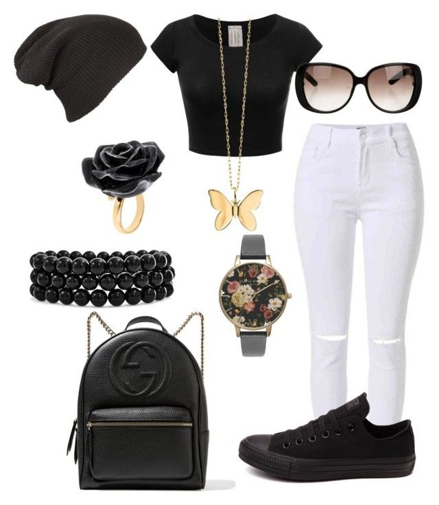 """""""After School Activities (If I Didn't Skip School)"""" by jaleah-pittman on Polyvore featuring Olivia Burton, Converse, Gucci, Bling Jewelry, Nach Bijoux and Sydney Evan"""