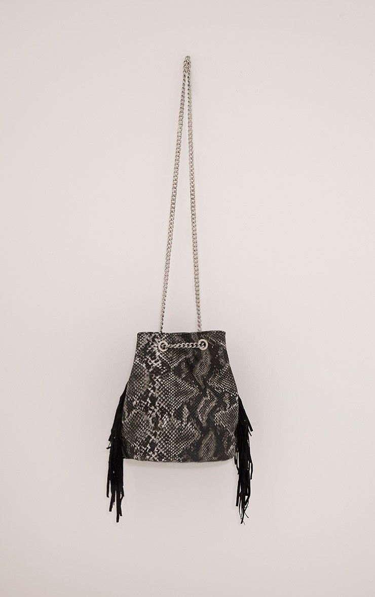 Zatara Grey Snake Print Bucket Bag Image 1