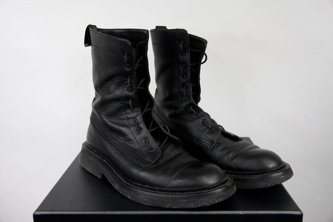 1e7dd643f1c7 AW07 Dior Homme Black Leather Military Combat Boots 41 8 42 9 Hedi ...