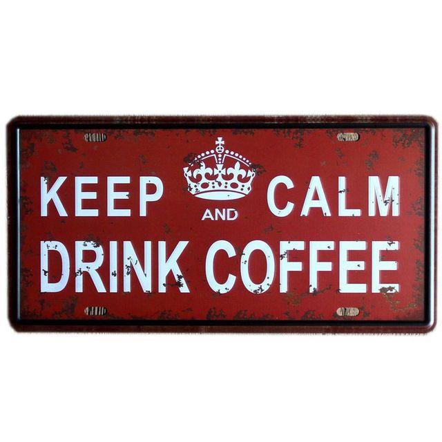 Metal Tin Sign keep calm drink coffee Bar Pub Home Vintage Retro Poster Cafe