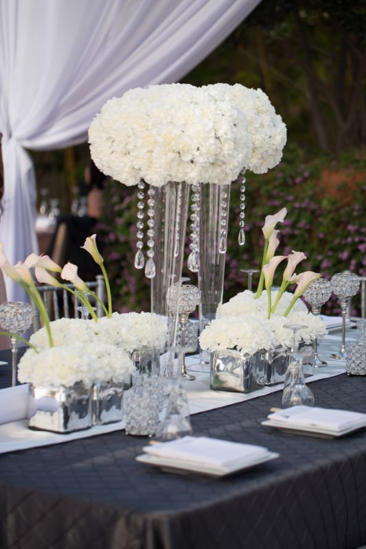 White Carnations Centerpiece : Blue green wedding possible tall centerpiece