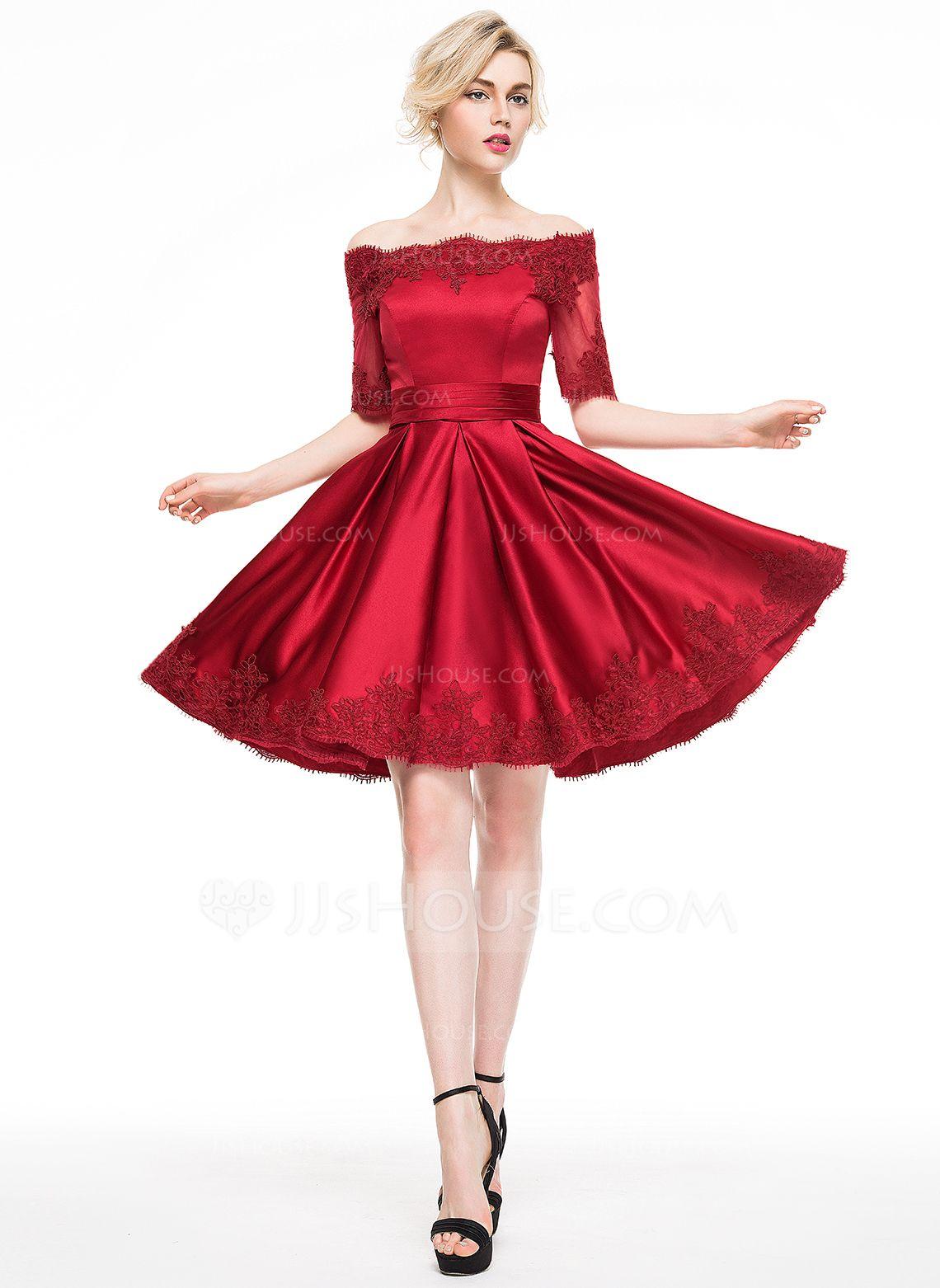 7c401863483 A-Line Princess Off-the-Shoulder Knee-Length Satin Prom Dresses With  Appliques Lace (018113172) - Prom Dresses - JJ s House