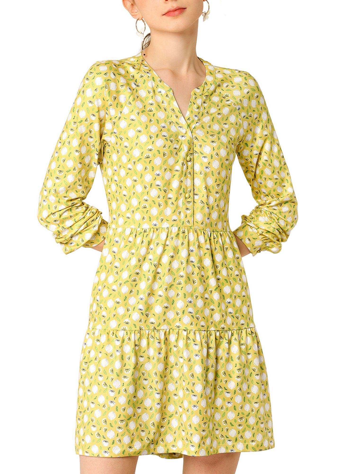 Unique Bargains Unique Bargains Women S Floral V Neck Cinched Waist Long Sleeve Dress Walmart Com Long Sleeve Dress Dresses Yellow Floral Dress [ 2000 x 1500 Pixel ]