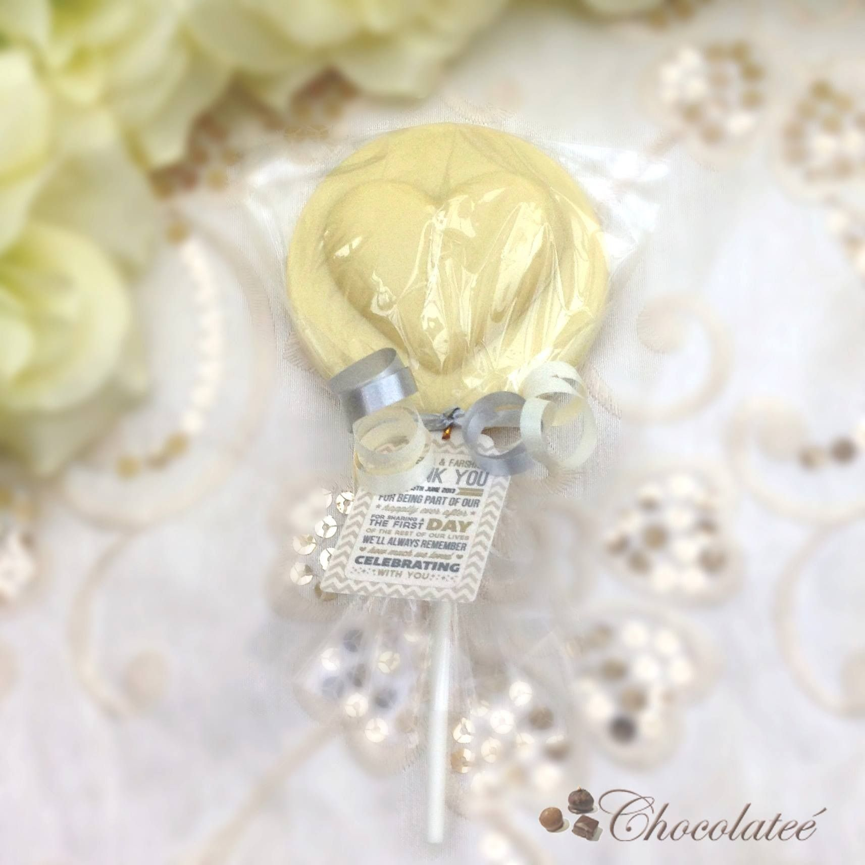 Luxury Belgian Chocolate Heart Lollipop Wedding Favours With ...