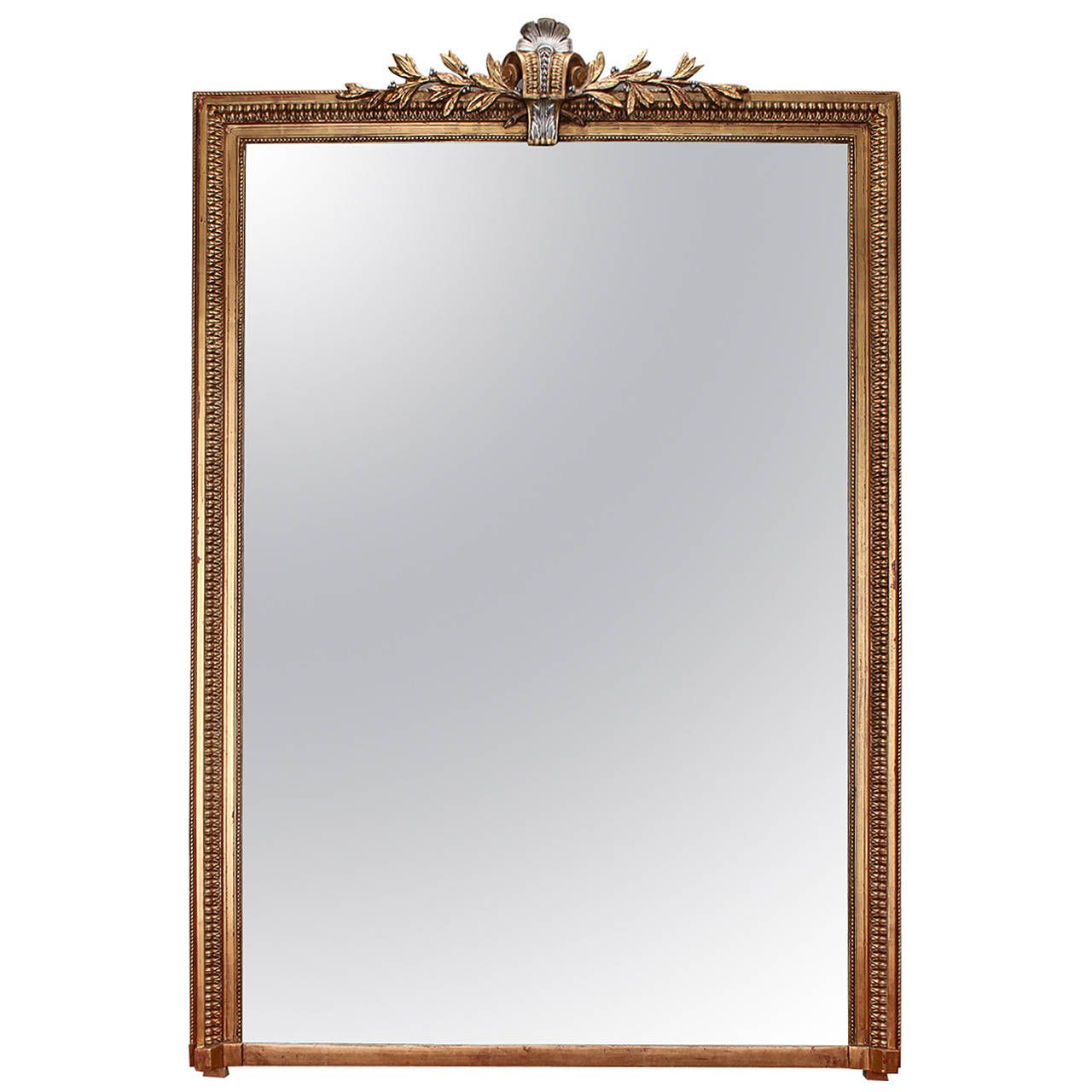 Large Gilt Wood Louis Philippe Mirror With Silver Leaf Gilt Crown   See more antique and modern Wall Mirrors at http://www.1stdibs.com/furniture/mirrors/wall-mirrors