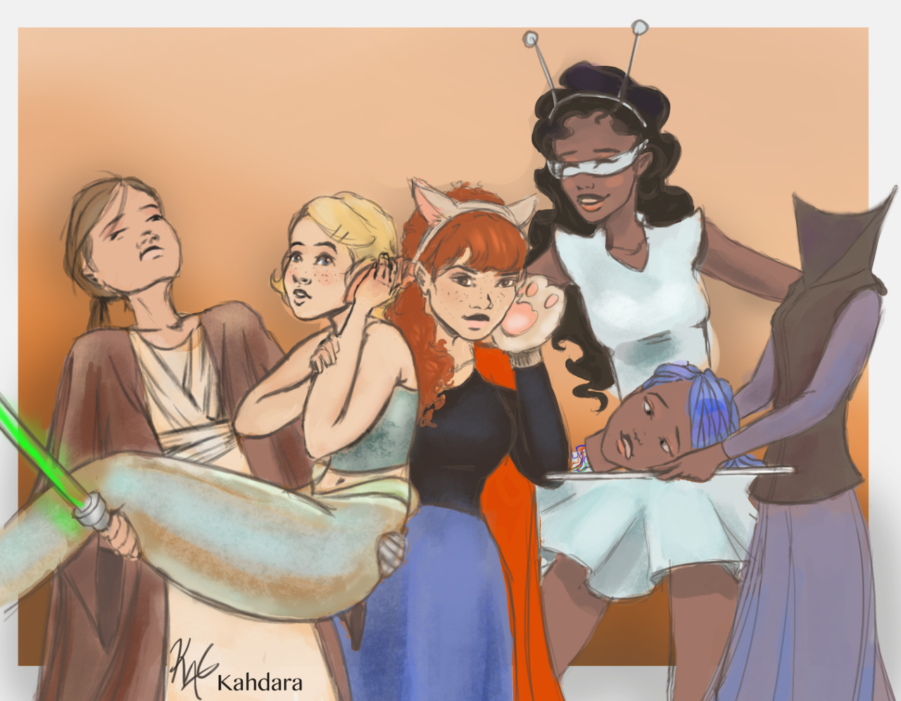 "TLC Ship Weeks/ Mini Ship Weeks | Day 4: Costume Cinder as Luke Skywalker (with robotic hand), Cress as a Mermaid holding a ""shell"" (get it? Shell :p) to her ear, Scarlet as a Wolf/Red Riding hood,..."