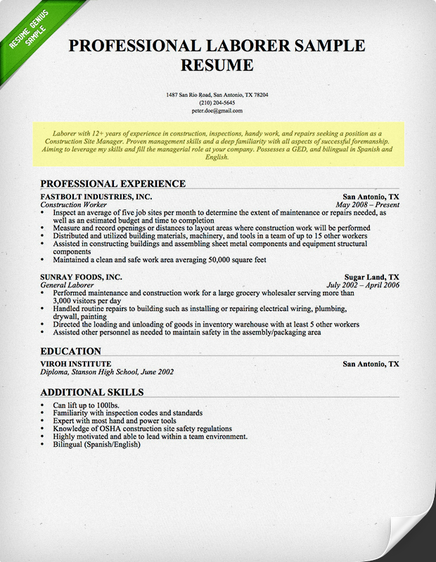 LaborerResumeProfessional1.png (620×800) Professional