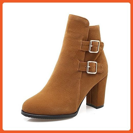 Women's Buckle Round Closed Toe Low-Heels Imitated Suede Low-Top Boots