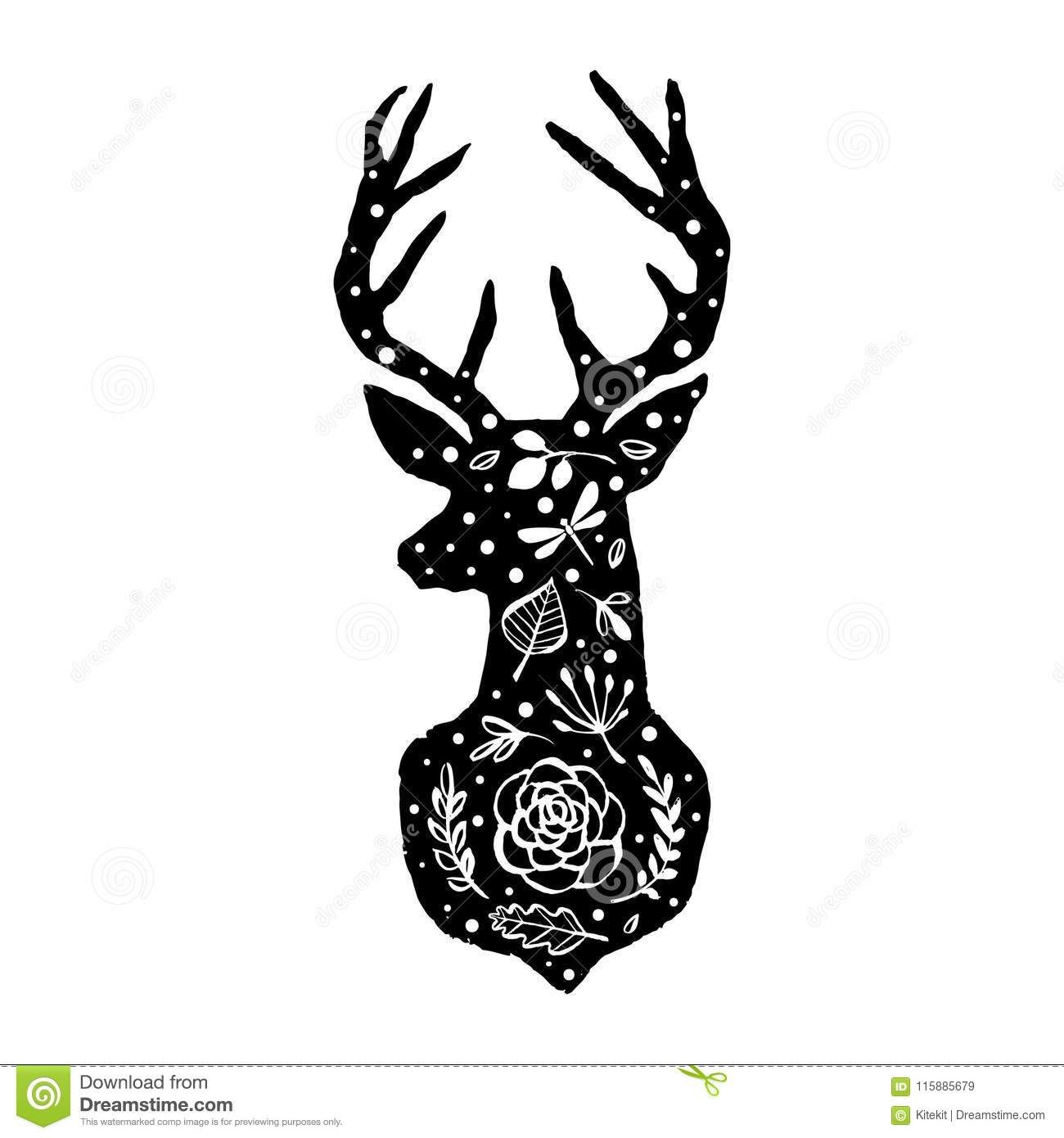 Illustration About Silhouette Of Deer With Flower Pattern Hand Drawn Design Elements Black And White Vec In 2020 Scandinavian Art Hand Drawn Design How To Draw Hands