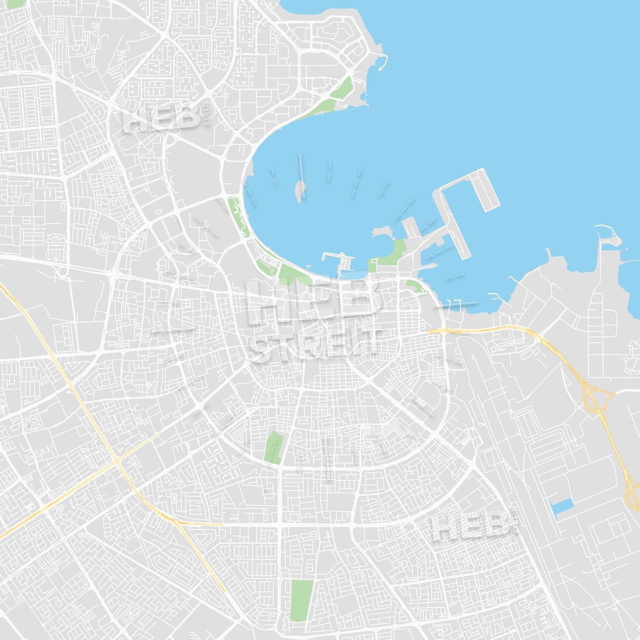 Printable map of Doha, Qatar | Maps Vector Downloads | Streit
