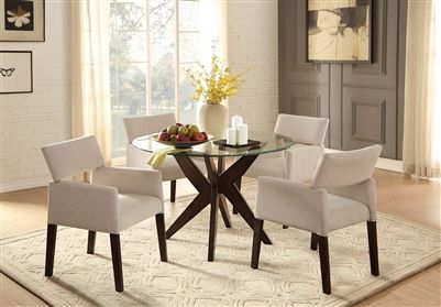 Massey 5 Piece Round Dining Set With Glass Top In Espresso By Home