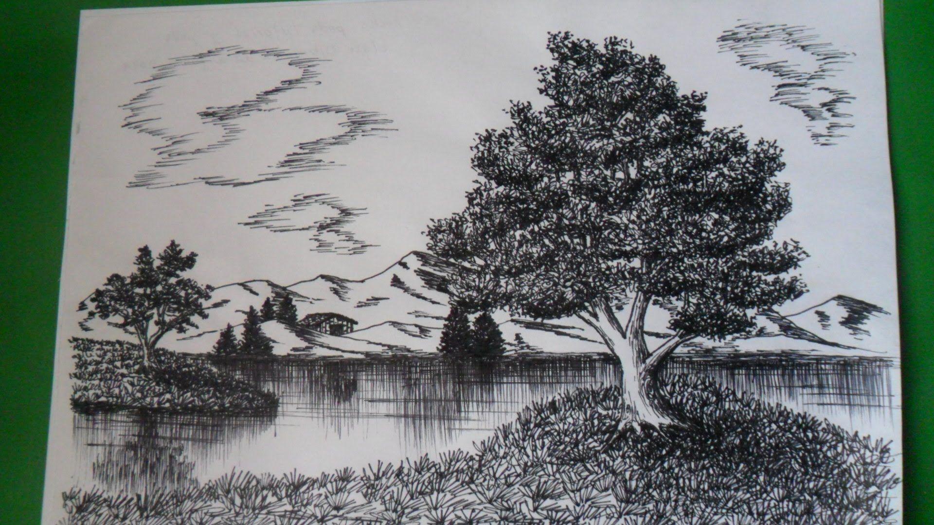 Como Dibujar Un Paisaje Natural A Tinta A Base De Texturas Mediante Toda Clase De Trazos Paisajes Dibujos Paisajes Naturales Dibujo Tinta China