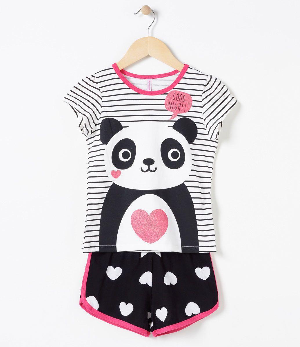 0c7ed76561f95e Pijama infantil Manga curta Gola redonda Estampa de urso panda Marca ...