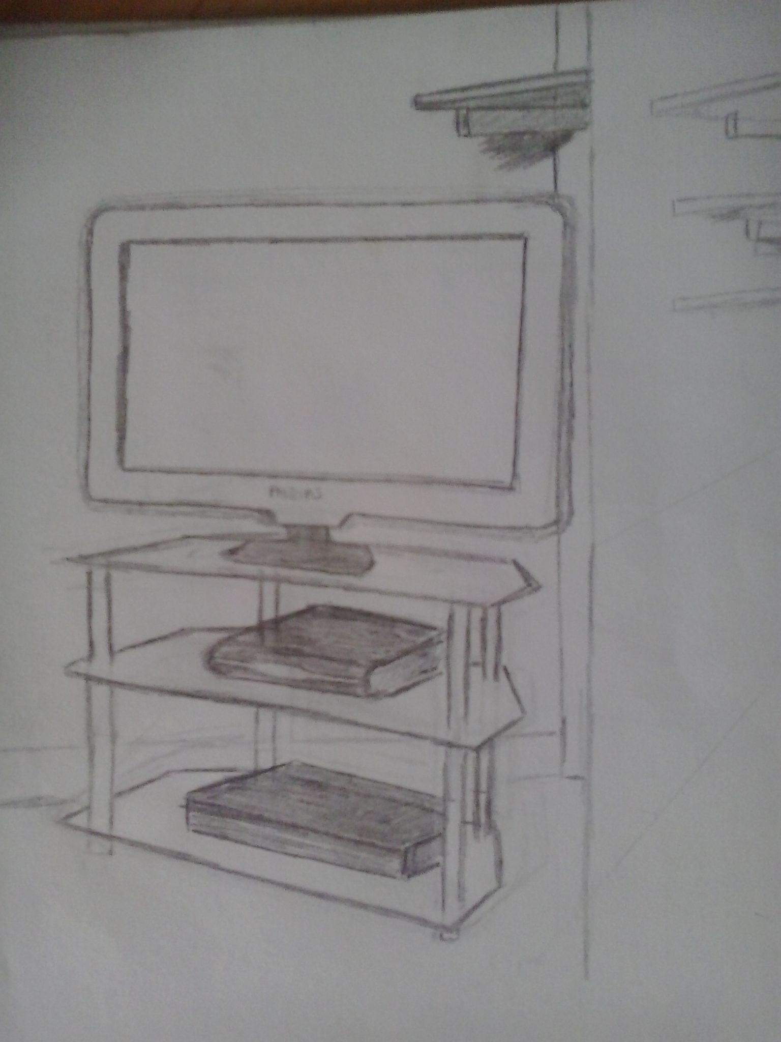 Room Drawing Pencil: Television Unit; #drawing With Pencil