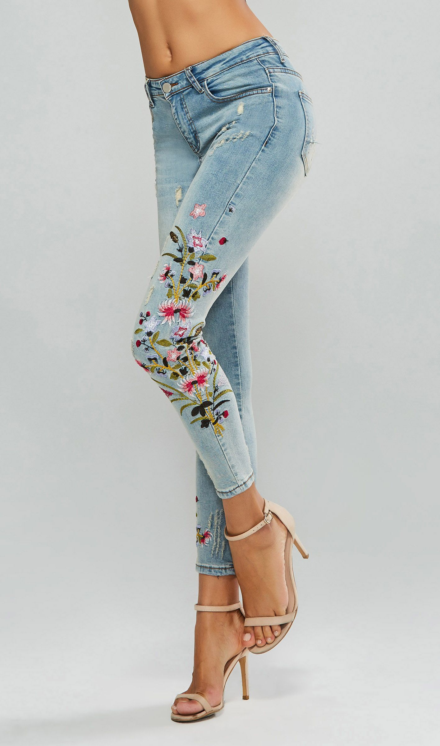 Floral embroidery hole ripped womens jeans ripped women