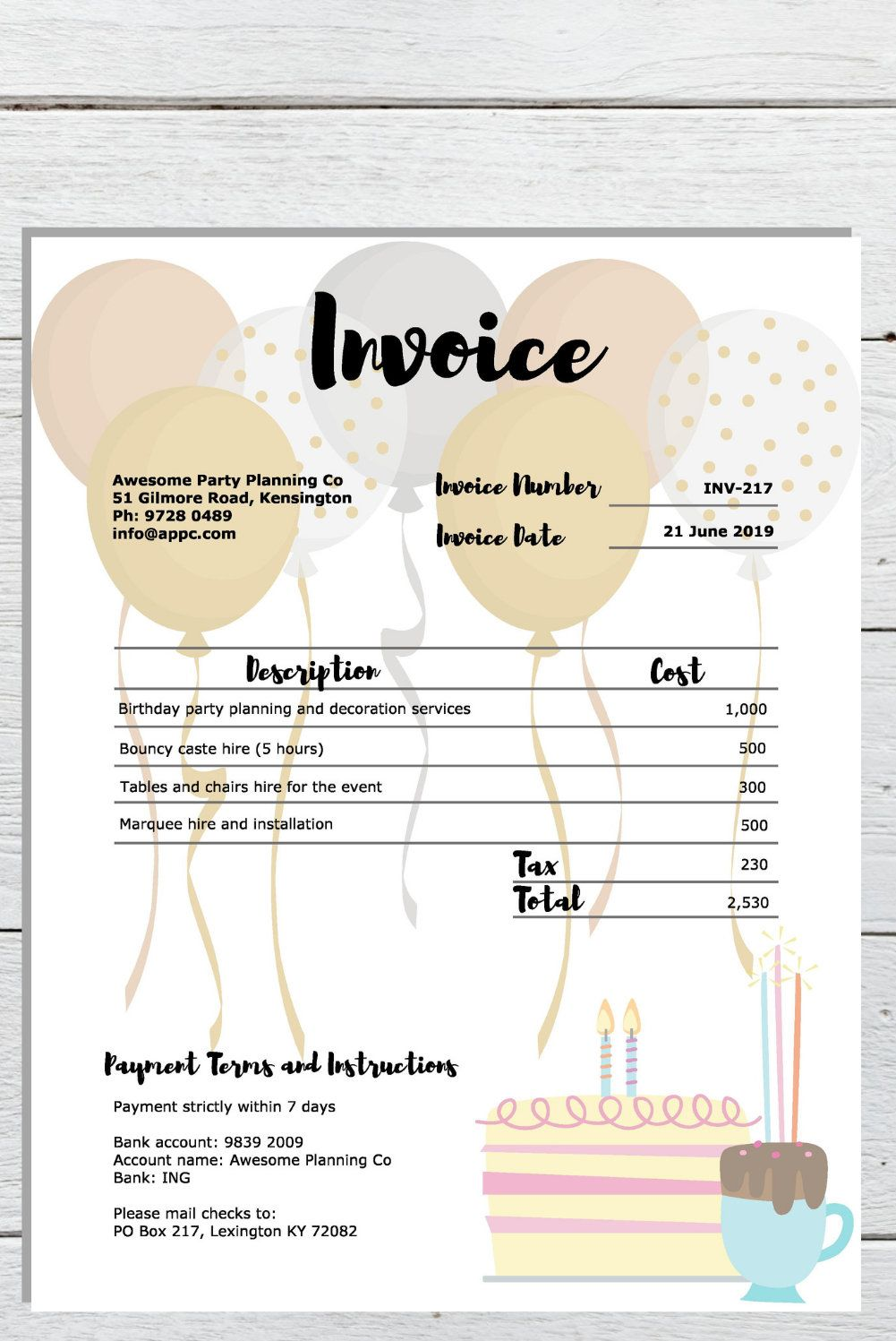 Event Planning Invoice Template And Receipt Template Bundle Etsy Party Planning Business Party Planner Business Party Planning
