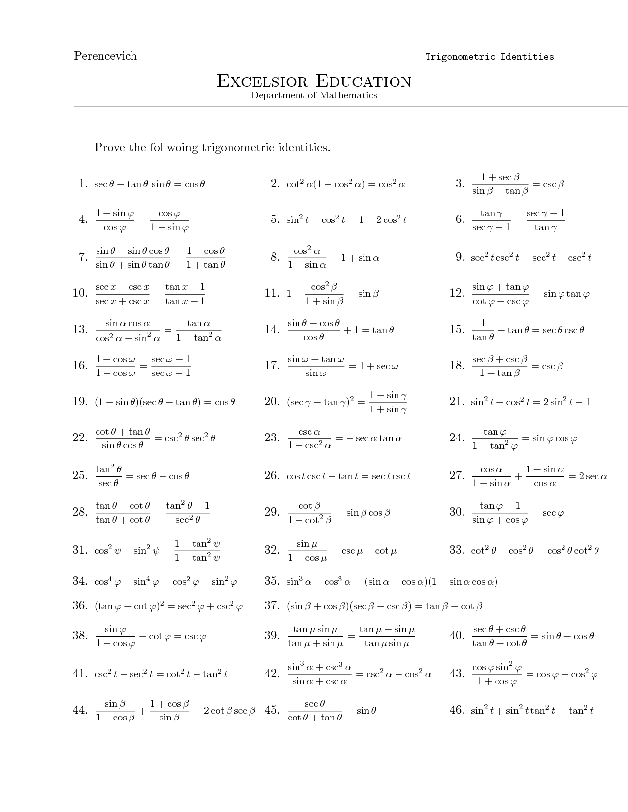 small resolution of Trigonometry identity problems   Mathematics worksheets