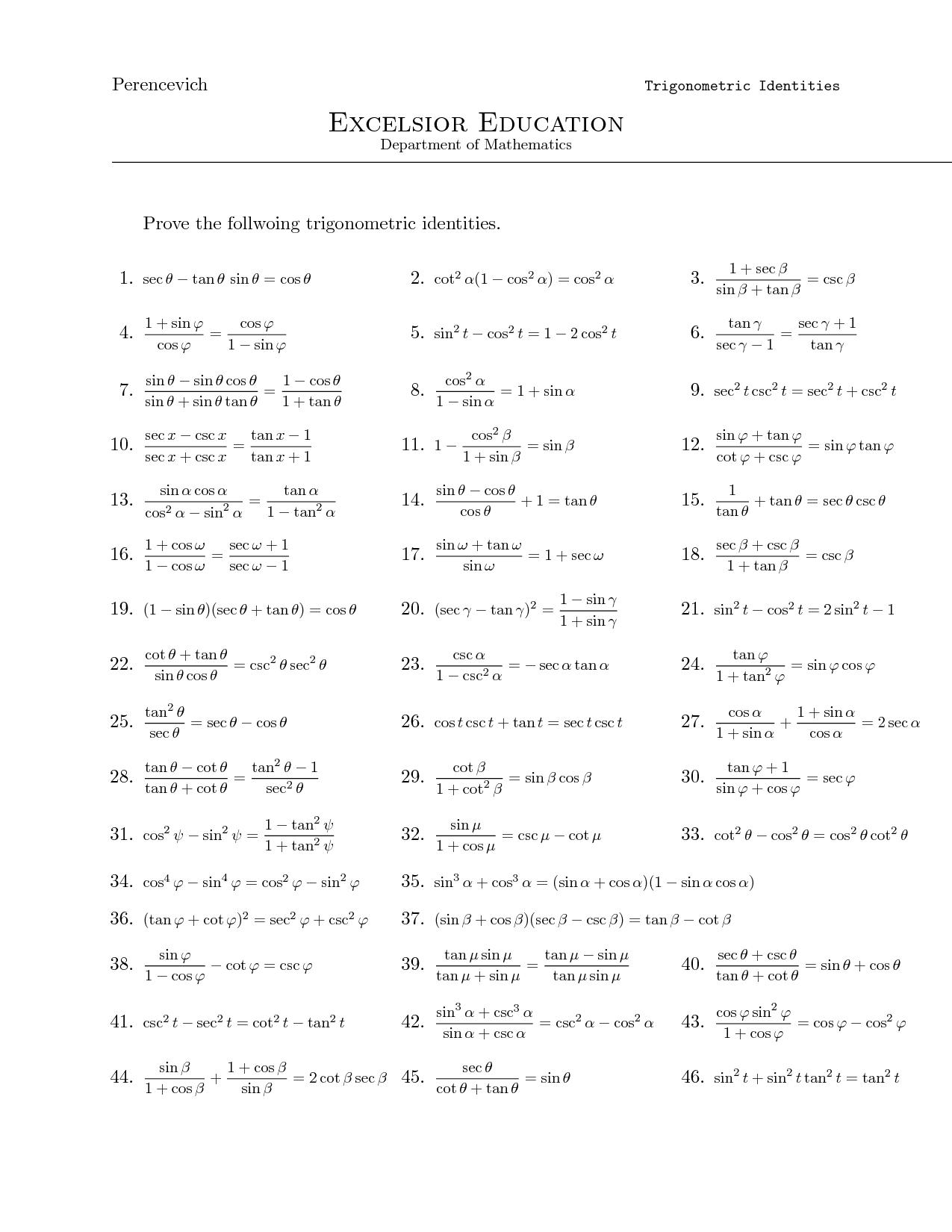 Trigonometry identity problems   Trigonometry worksheets [ 1650 x 1275 Pixel ]