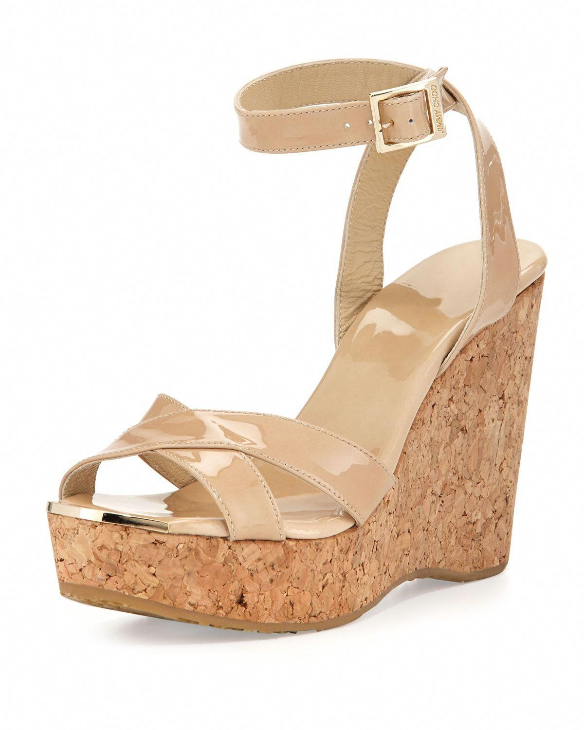 e92bec307784 Jimmy Choo Papyrus Patent Cork Wedge Nude in Beige (NUDE)