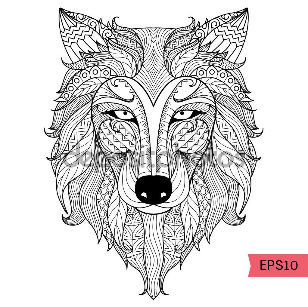 Descargar Detail zentangle wolf for coloring page,tattoo