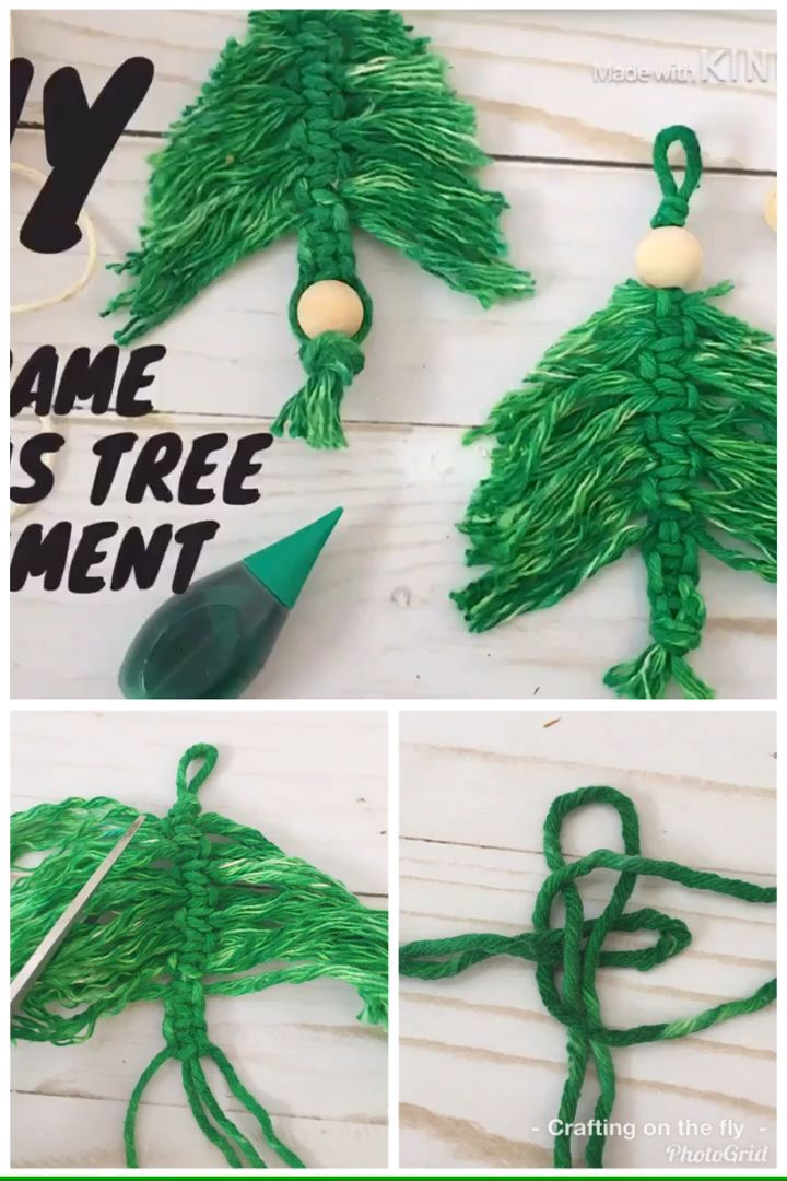 Easy DIY Macrame Christmas Tree Ornament step by step instructions with full video