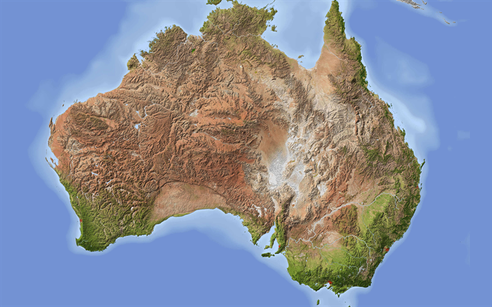 Download Wallpapers Map Of Australia, 4k, Geography