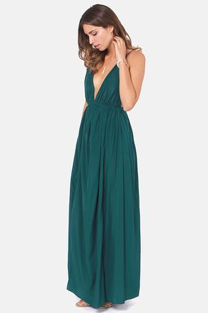 Titania's Woods Backless Dark Teal Maxi Dress | Teal dresses and ...
