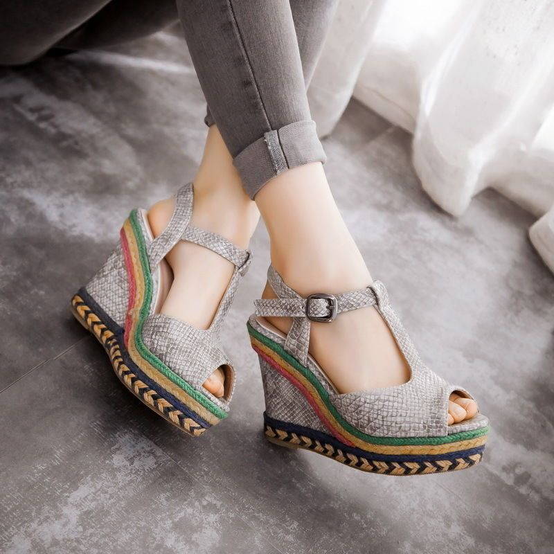 95f5fddb7d4 Women Multi-Color Woven Platform Wedge Heel Sandals Ankle Strap Slingback  Shoes  fashion