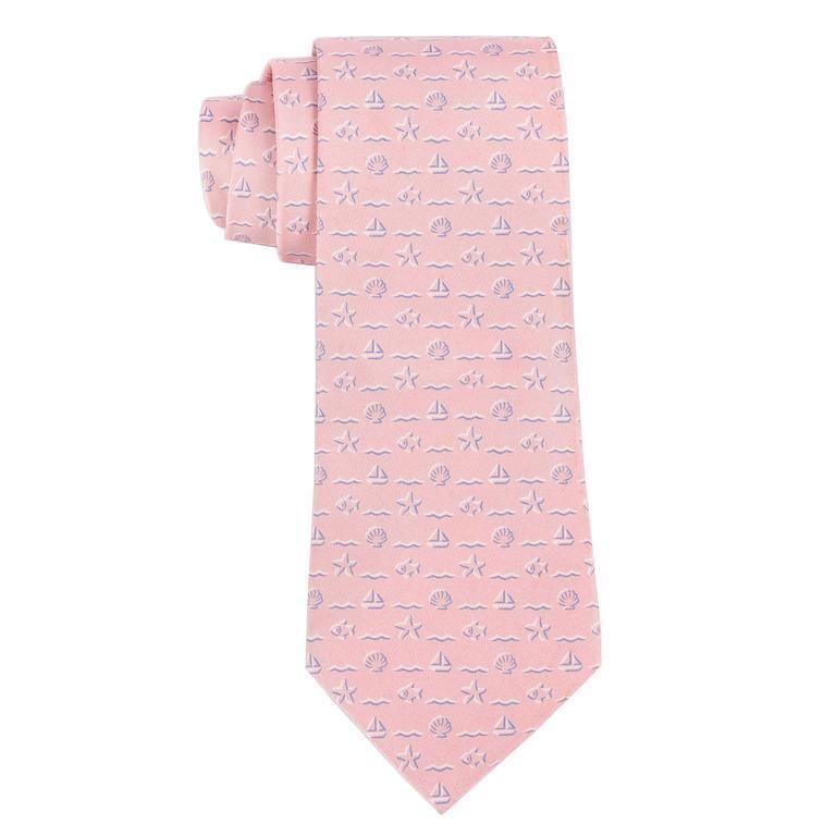c53307d93b37a HERMES Pink Sailboat Fish Nautical Seashell Print 5 Fold Silk Necktie Tie  5106 H  HERMS