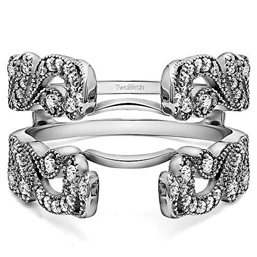 10k White Gold Vintage Filigree Millgrained Ring Guard with CZ