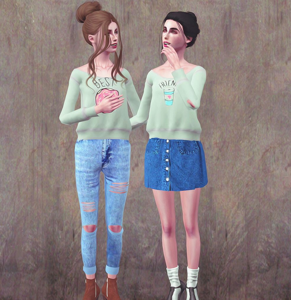 Best Friends Sweaters Available For Ya A Female 1 Channel Recolorable Pregomorphed Pictures Provided In Zip File Sims3pac Best Friends Sims Sweaters