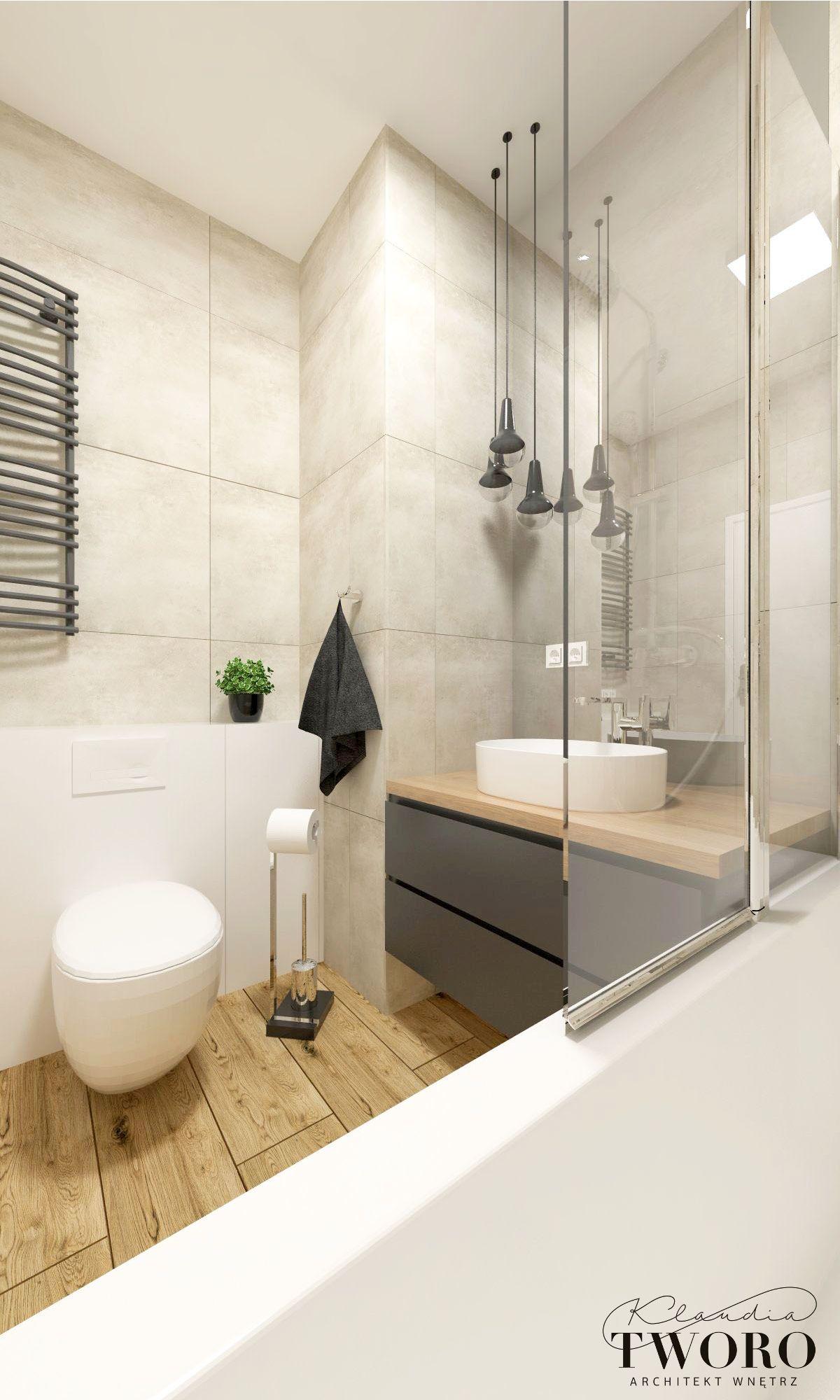 łazienka Szara Drewno Beton żoliborz Artystyczny Szary