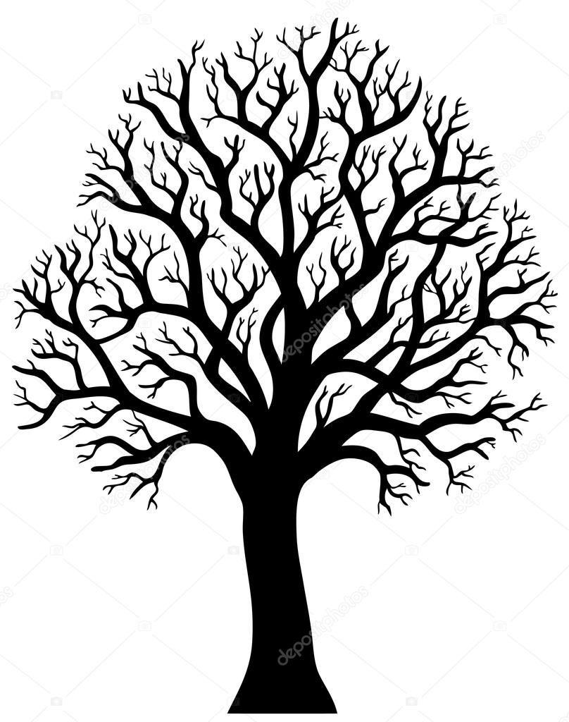 Downloaden - Silhouet van boom zonder blad 2 — Stockillustratie ...