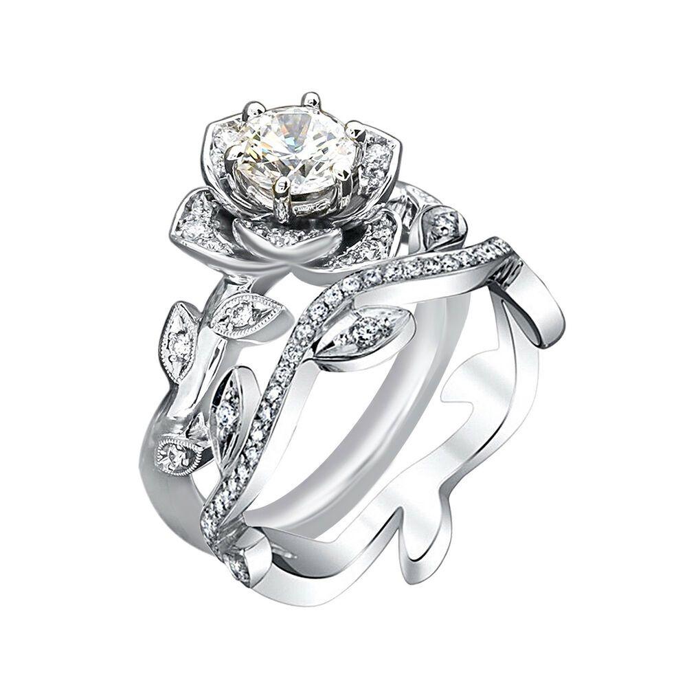 14k white gold 150ct round diamond lotus flower design