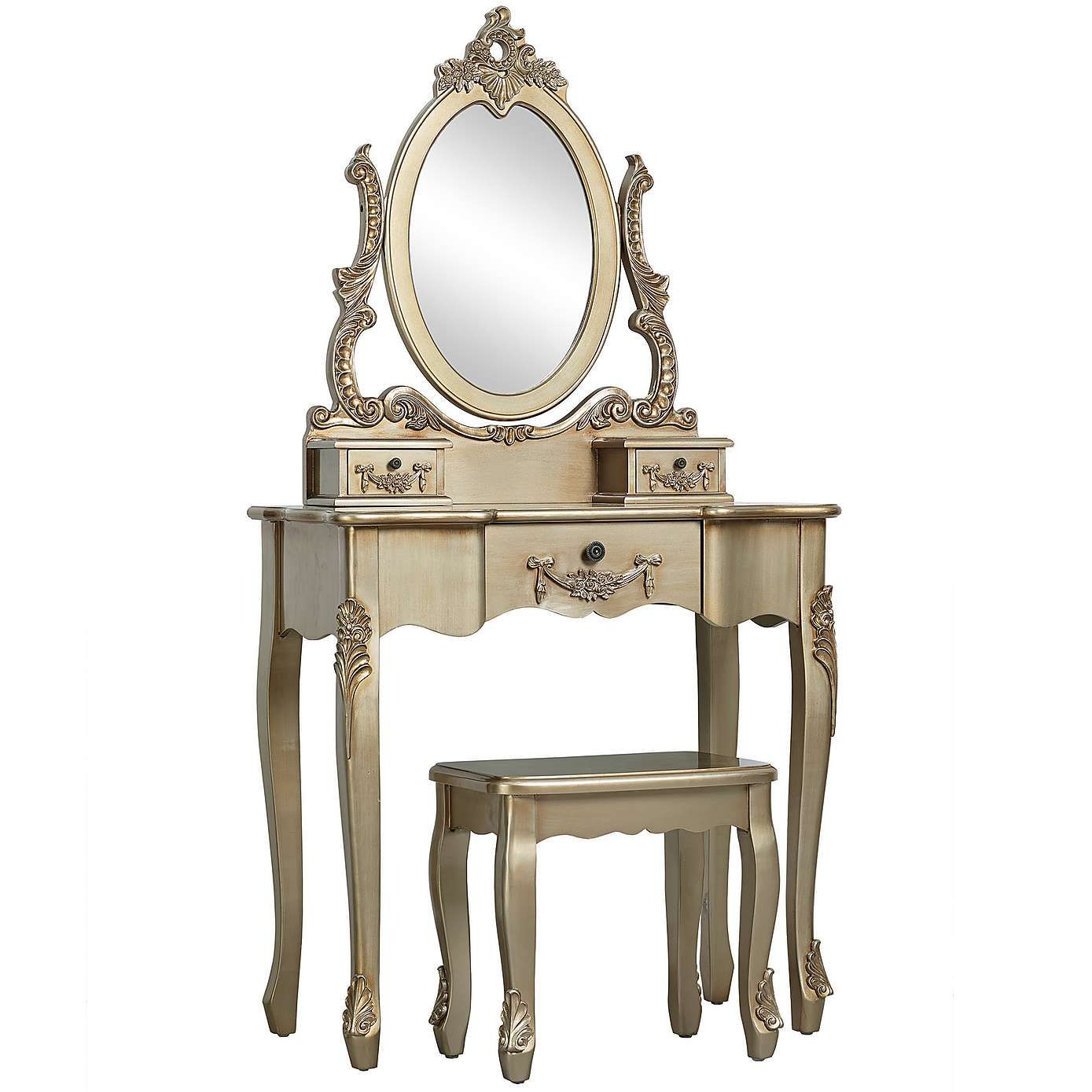Toulouse Gold Dressing Table and Stool Dunelm