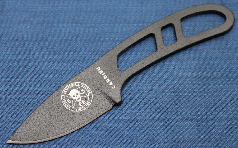 Esee Candiru Black 1095 High Carbon Blade Skeletonized Handle Clip Plate Black Black Powder Coat Blade