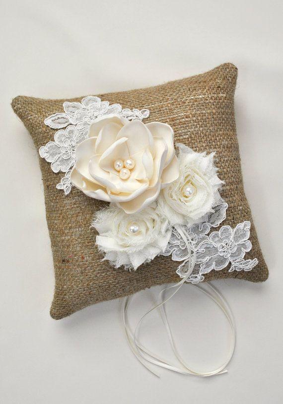 Burlap Ring Bearer Pillow Burlap Wedding Ring by weddingsandsuch ...