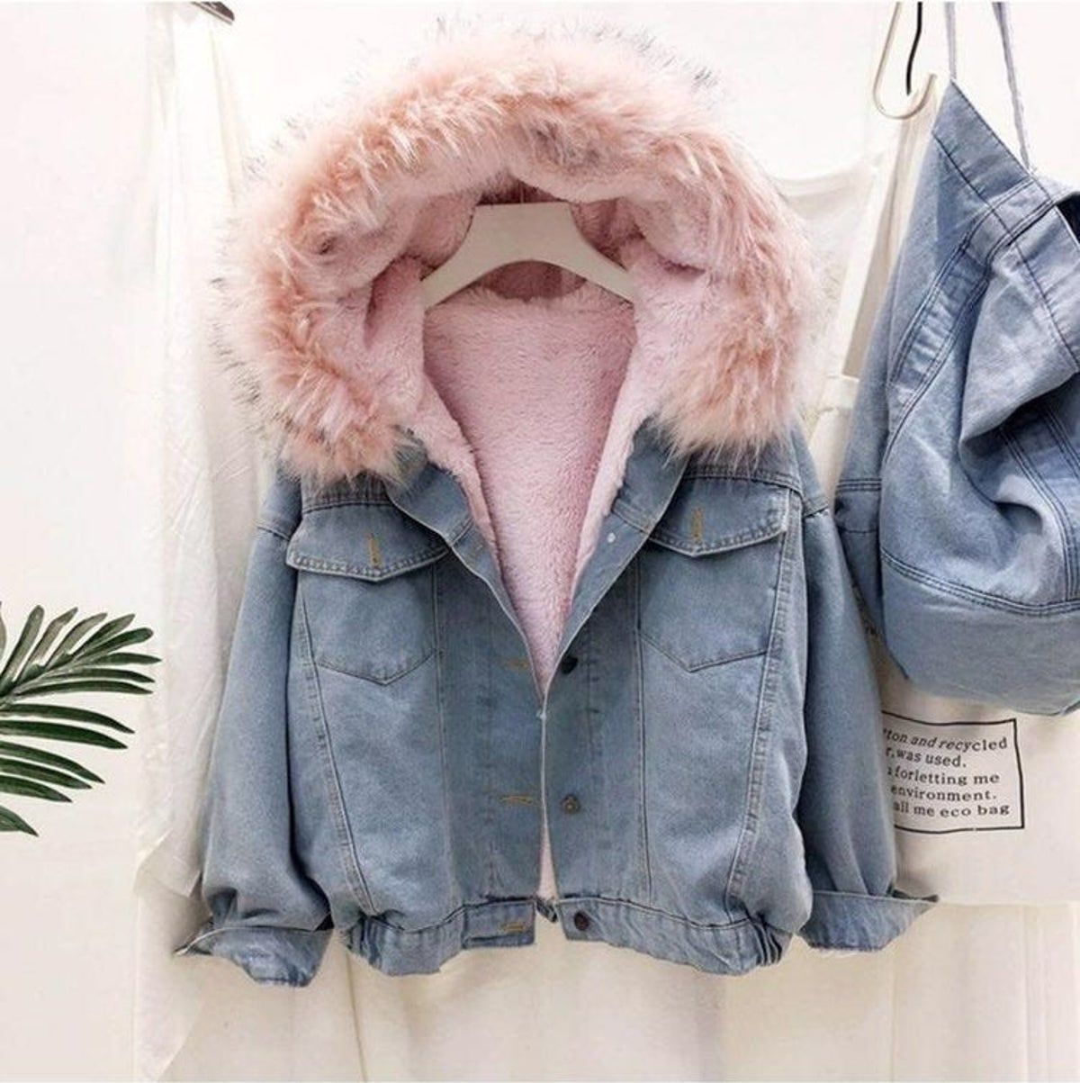 Pink Faux Fur Denim Jacket Denim Jacket Winter Denim Jacket Women Denim Top Women [ 1203 x 1200 Pixel ]