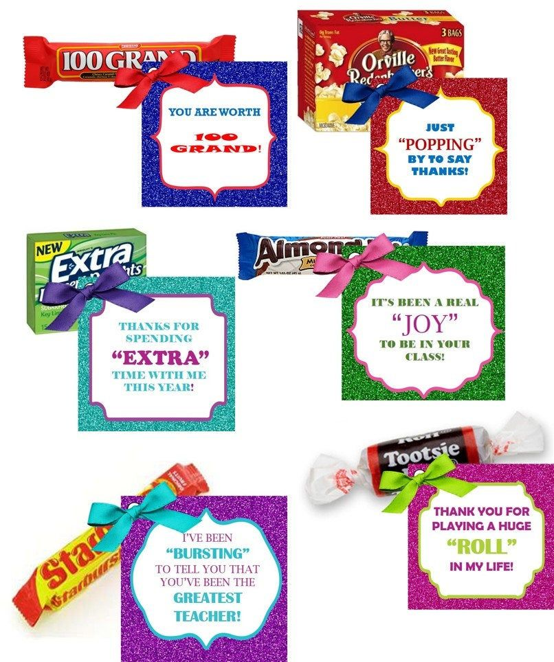Printable Teacher Appreciation Candy Gift Tags- Glitter Favor Tags- Digital File- 6 tags