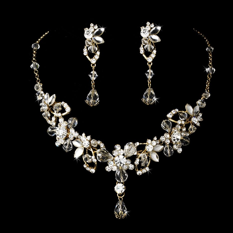 Couture gold plated crystal vine bridal jewelry set for Wedding ring necklace