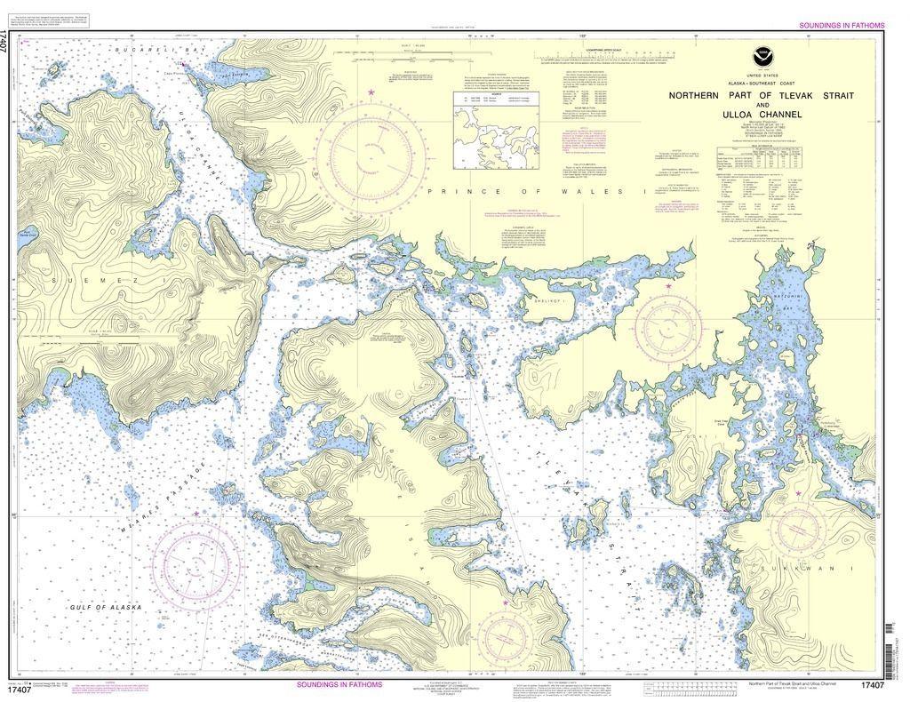 Noaa Nautical Chart 17407 Northern Part Of Tlevak Strait And Uloa Channel Nautical Chart Travel Map Pins Chart