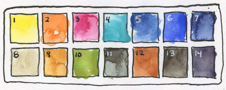 Basic Watercolor Palette 12 Essential Colors Winsor Newton